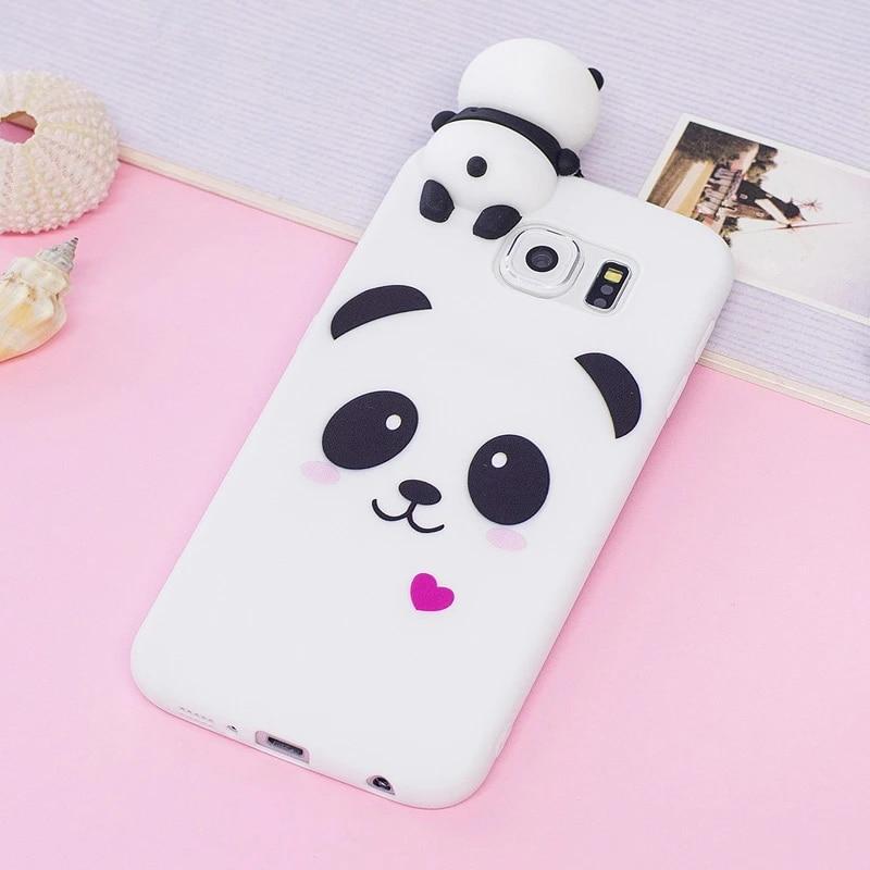 For Coque Samsung Galaxy S6 Case for Samsung S 6 Case 3D Cartoon Panda Unicorn for Case Samsung Galaxy S6 S6 Edge Back Cover