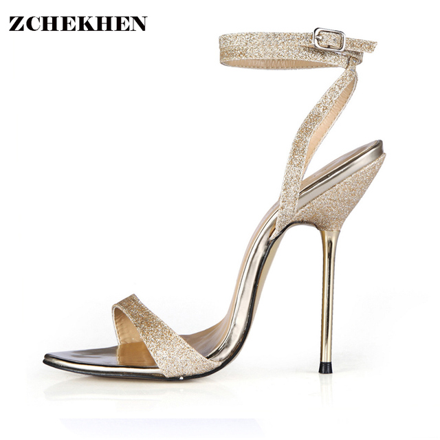 e67a63c5c61 2018 Gold Bling Party Summer Shoes Women Sandals Square High Heel Sandals  Rhinestone Peep Toe Wedding Shoes Plus Size 3845-i4