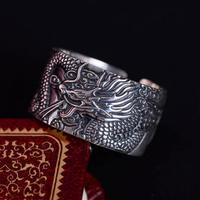 Real 999 Pure Silver Biker Rings With Flying Dragon 2