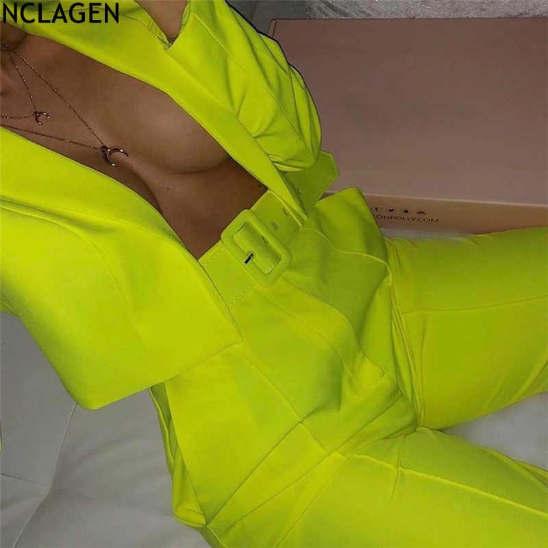 NCLAGEN Delle Donne Al Neon 2 PCs Office Lady Blazer Abiti Crop Top Cardigan Cappotto Alla Moda Slim Fit Casual Pantaloni Pantaloni Due pezzo Set