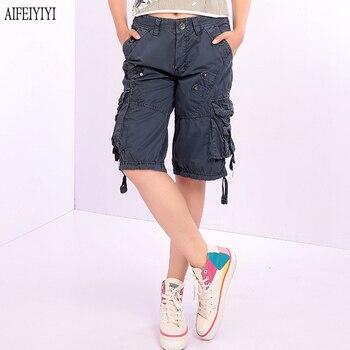 Denim Pantalon Femmes 2019 Army Green Loose Knee Length Multi-Pocket Baggy Jeans Cargo Short Pants Men/Womens Military Trousers 2