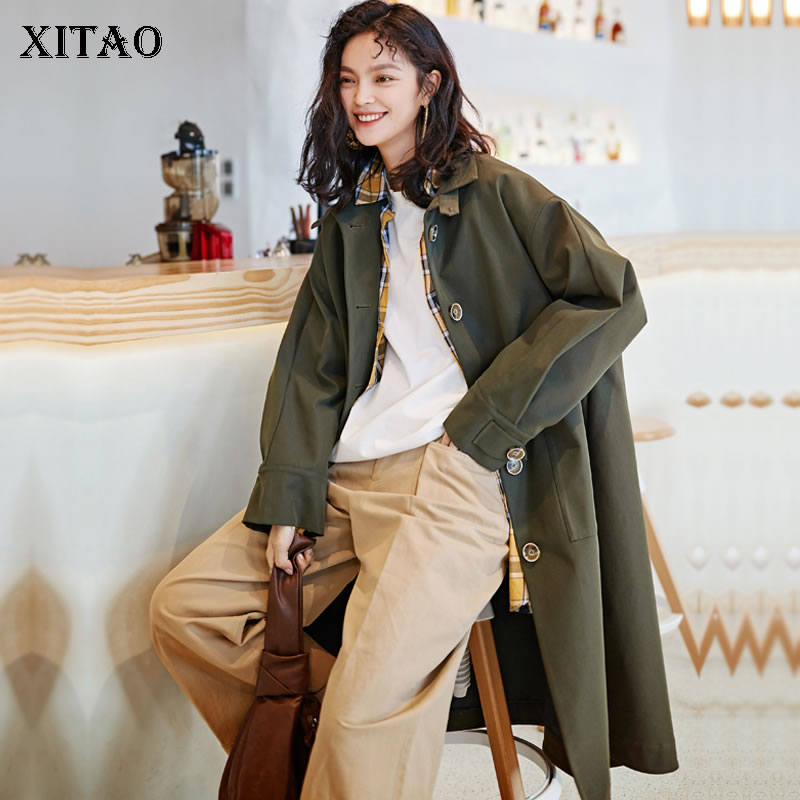 [XITAO] Original Korea Fashion New Women 2019 Spring Summer Single Breasted A-line Solid Color Mandarin Collar   Trench   DLL2548