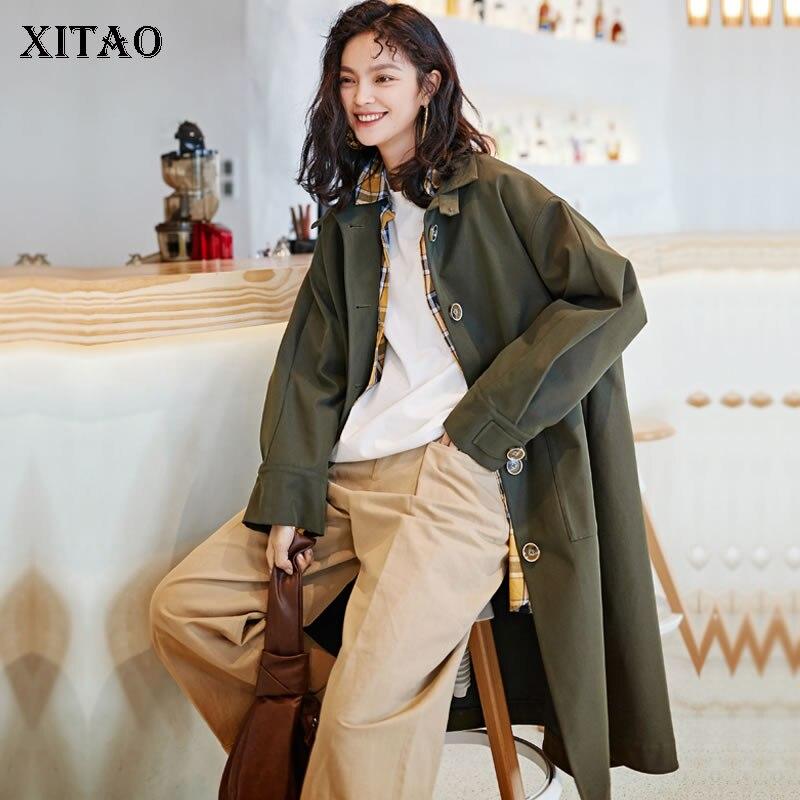 Boutonnage Col Femmes 2019 Nouvelles Solide Green Mandarin Été Simple Tranchée Corée Printemps Army Mode xitao De Dll2548 ligne D'origine Couleur A IAYvnXAa