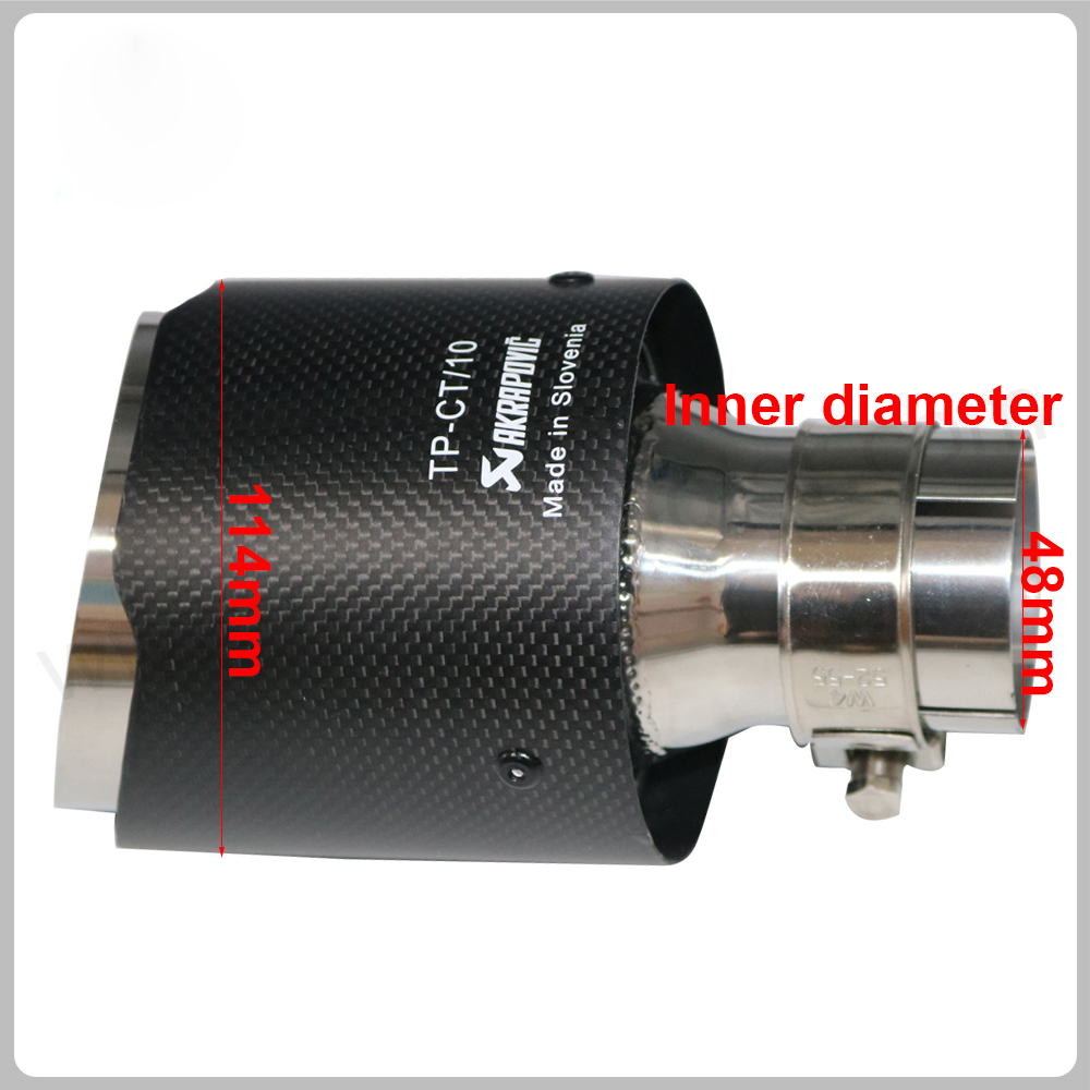 IN 48mm OD 114mm Matte Akrapovic exhaust car car-styling pipe muffler tip carbon fiber