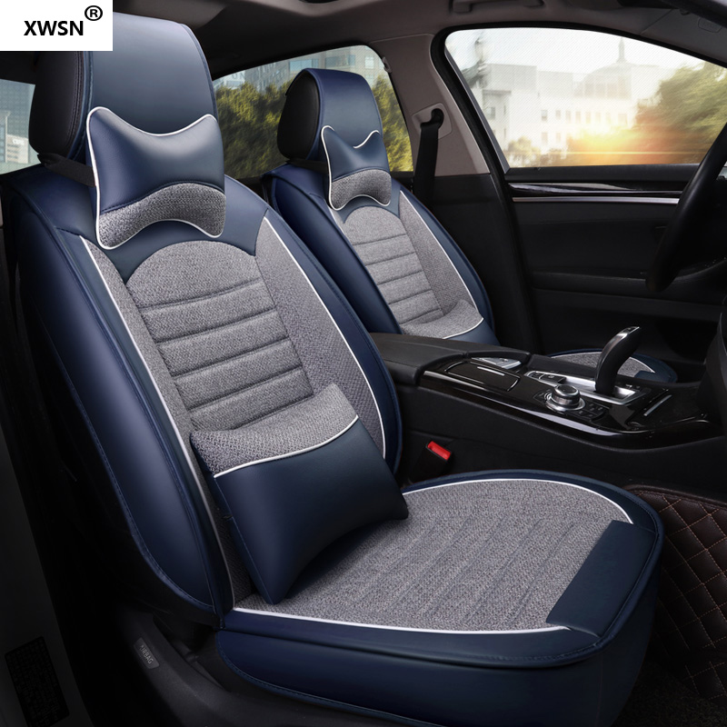 XWSN pu leather linen car seat cover for subaru Tribeca Legacy Outback Impreza Forester XV car styling auto accessories 2018 leatherette automotive seat cover or back seats pad car styling for subaru forester outback xv brz legacy wrx sti tribeca
