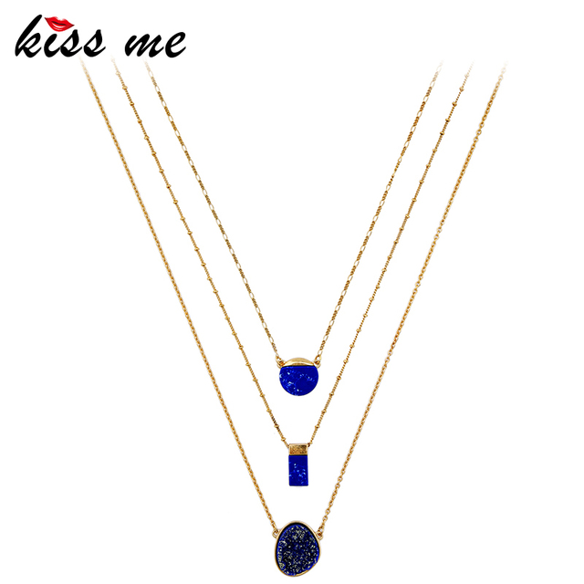 KISS ME Blue Multi Layer Necklace Chic Removable Geometric Pendant Necklace Brand Jewelry Accessories