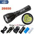 torch 3T6 CREE XML T6 Underwater flashlight Diving scuba flashlights dive waterproof 8000 lumens light 8 mode 18650 OR 26650