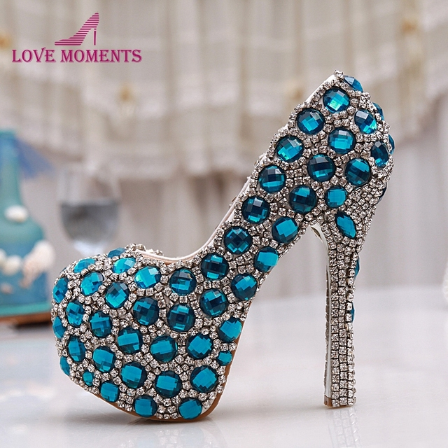 Beautiful Cinderella Crystal Shoes Bride Rhinestone Wedding Shoes Blue  Performance Shoes Pink Party Prom High Heel Shoes 297478707d7c