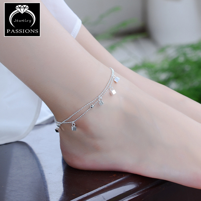 Xanımlar Ayaq Anklet 925 Sterling Gümüş Anklet Bilərziklər - Moda zərgərlik - Fotoqrafiya 6
