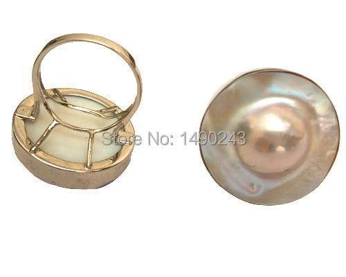 8 #22mm 925 argent Sterling naturel rose eau de mer fait perle de mariage mode femmes anneau