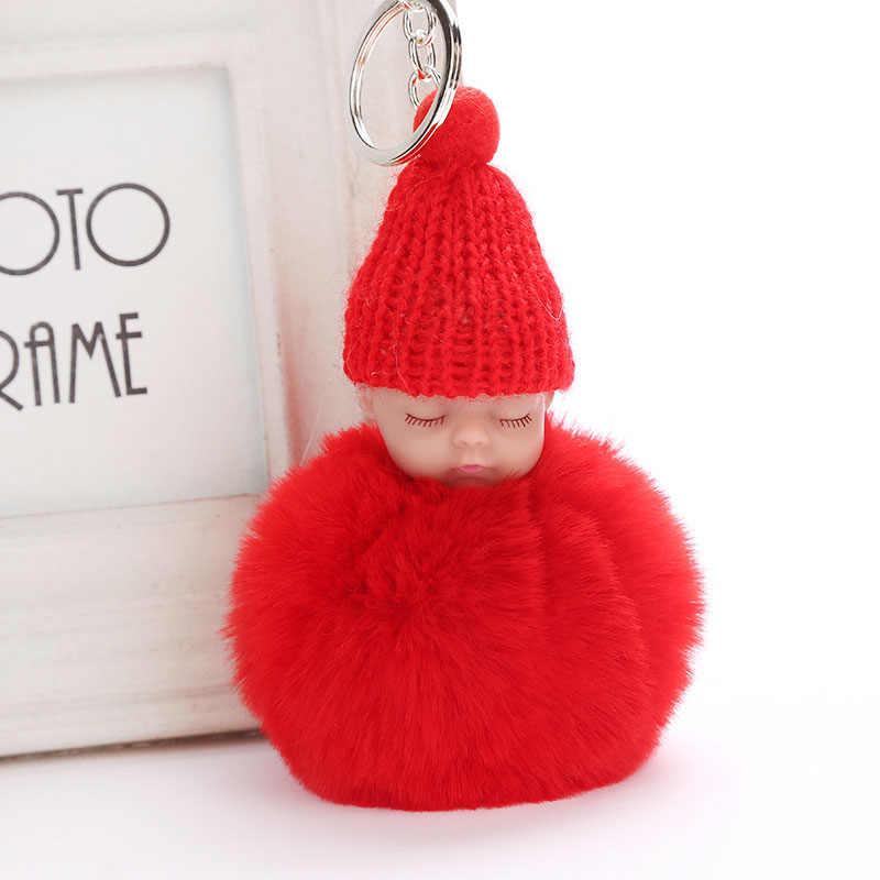 New Bonito pompom chaveiro corrente chave do Sono Do Bebê fofo falso bola de pêlo de coelho mulheres saco pompom pom do anel chave do carro pom Dom titular