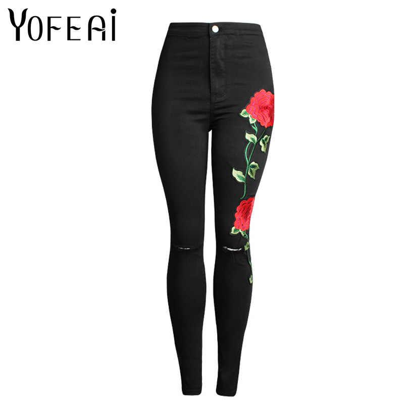 Yofeai 2017 новые женские джинсы Высокая талия джинсы Мода Цветочный Джинсы с вышивкой тонкие узкие пикантные повседневные джинсы Femme большие размеры; черный