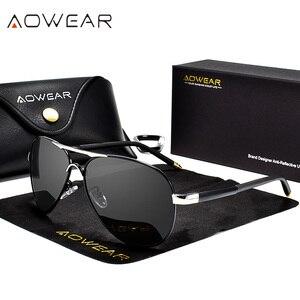 Image 1 - AOWEAR marka projektant spolaryzowane okulary mężczyźni lotnictwa powłoka lustrzane okulary przeciwłoneczne dla mężczyzny kobiety óculos gafas lentes de sol