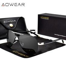 AOWEAR 브랜드 디자이너 편광 선글라스 남자 항공 코팅 거울 태양 안경 남자 여자 oculos gafas lentes de sol