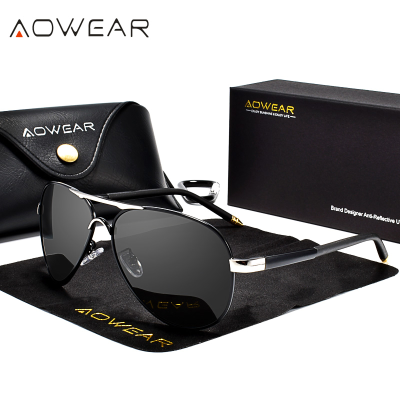Aowear marca designer óculos de sol polarizados homens revestimento de aviação espelho óculos de sol para homem