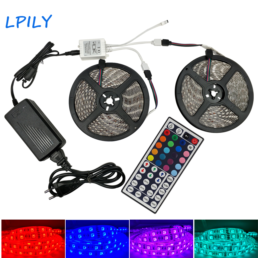 цена на LPILY RGB LED strip light 5050 Flexible led tape 60 LEDS/m Non Waterproof led tape with remote and power adapter for Christmas