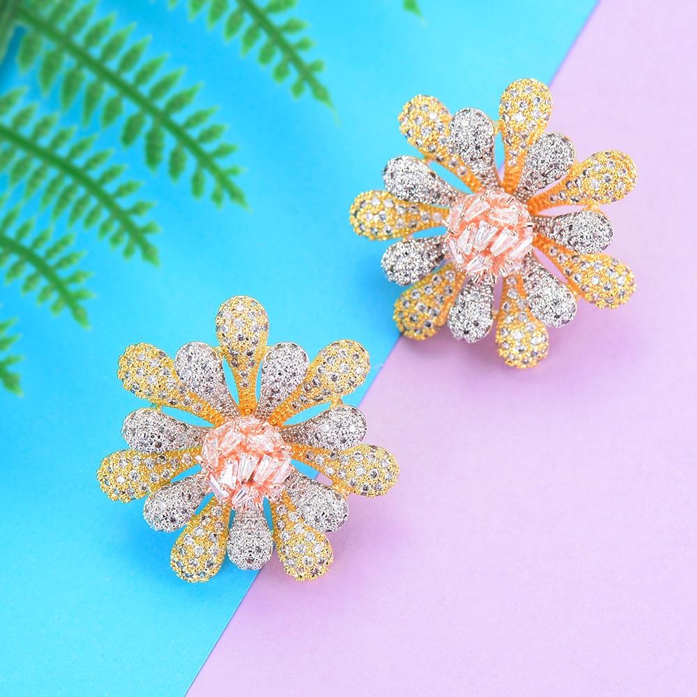 31*31 mm Fashion Cubic Zirconia Jewelry Statement Earrings Flower Shape Jewelry Women Engagement fashion jewelry