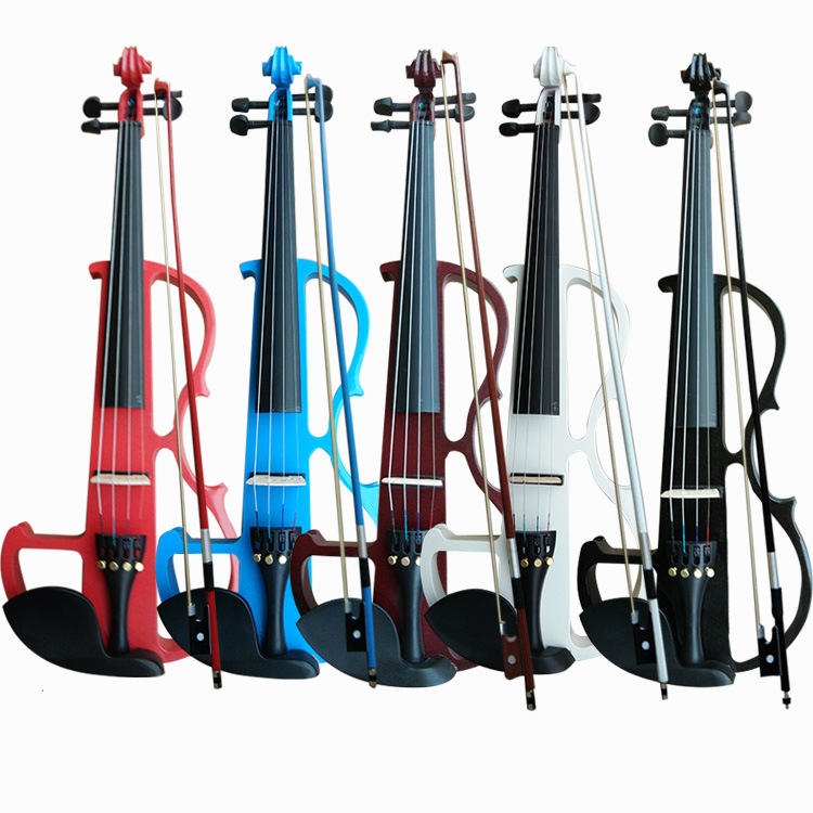 Full Size 4 4 Solid Wood Silent Electric Violin Fiddle Maple Body Ebony Fingerboard Pegs Chin