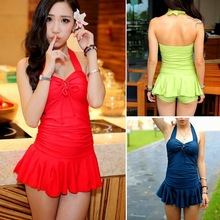 Removable Padding Halter Swimdress Flouncing Boy Shorts Womens Swimsuit Swimwear