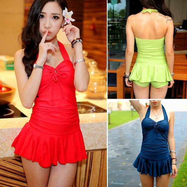 0a5fd66341 Removable Padding Halter Swimdress Flouncing Boy Shorts Womens Swimsuit  Swimwear