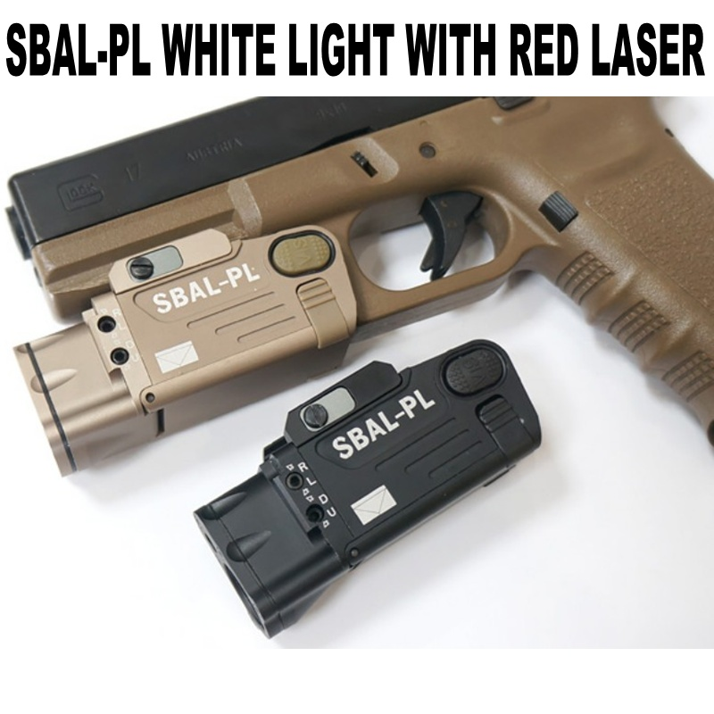 CQC Tactical SBAL PL Pistol Gun Weapon Light With Red Laser CNC LED Flashlight Airsoft Paintball