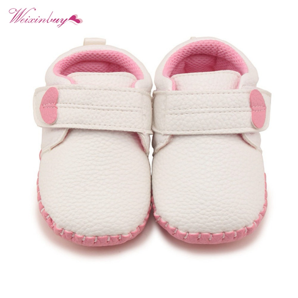 Newborn Fashion New Baby Boy Girl Shoes Casual Solid Shallow Hook Loop First Walkers