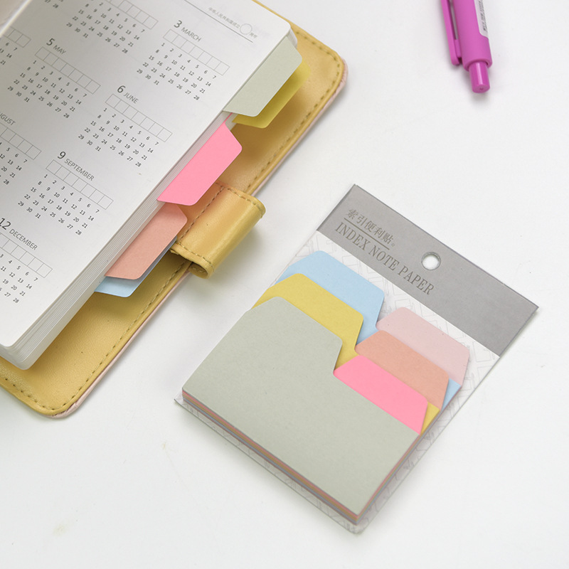 Divider Sticky Notes, Tabbed Self-stick 90 Blank Notes Pad, Assorted Colors