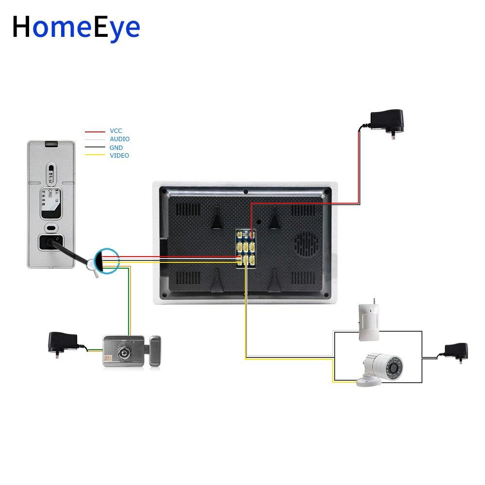 Купить с кэшбэком HomeEye 720P HD Video Door Phone Video Intercom 2 Doors Building Access Control System 7''Touch Screen Voice Message PIR Alarm