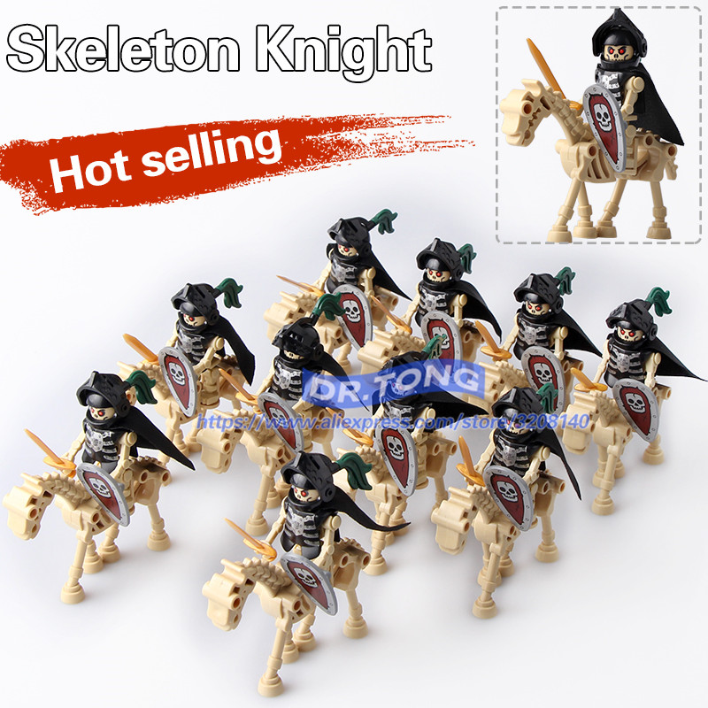 DR.TONG 10PCS/LOT AX9815 Skeleton Knights Medieval Castle Knights Skeleton Knights Building Bricks Blocks Toys Children Gifts single sale medieval castle knights dragon knights the hobbits lord of the rings figures with armor building blocks brick toys