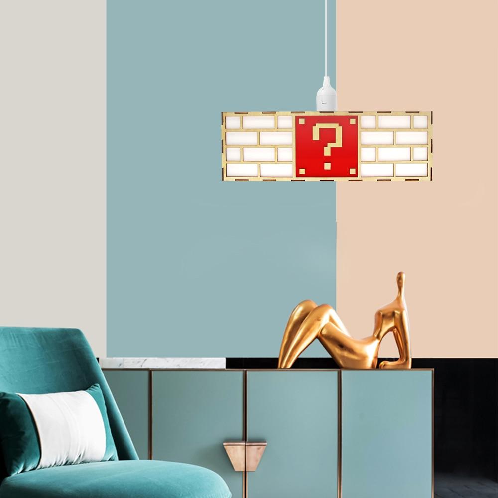 Coloré jeu vidéo point d'interrogation bloc suspension lampe créative en bois plafond pendentif lumière élégante lampe cadeau pour amoureux de jeu enfants - 6