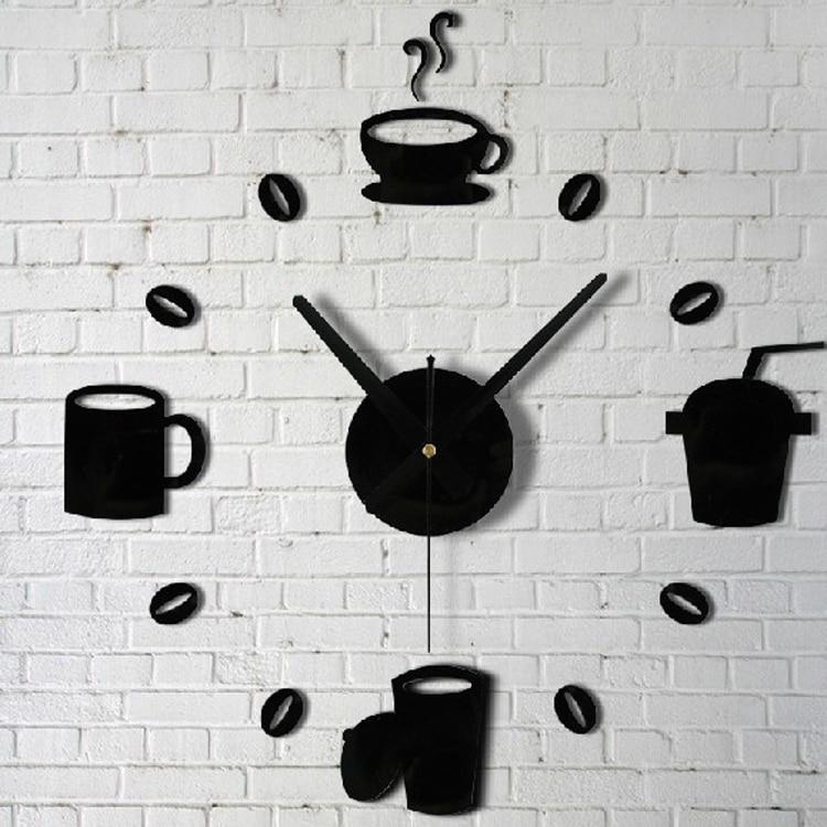 Coffee Cups Kitchen Wall Art Mirror Clock Modern Design Home ...