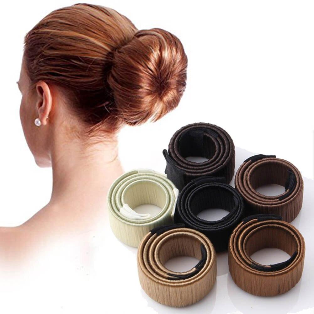 Us 1 26 10 Off 1 Pc Women Girls Kids Magic Hair Styling Donut Bun Maker Former Twist Hairstyle Clip Diy Doughnuts Hair Bun Tools Braiders In Women S