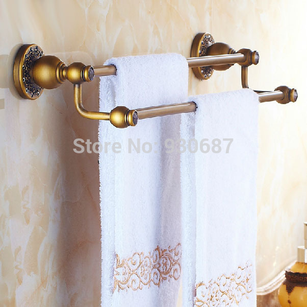ФОТО Antique Brass Flower Carved Bathroom Wall Mount Dual Towel Hanger With Crystal