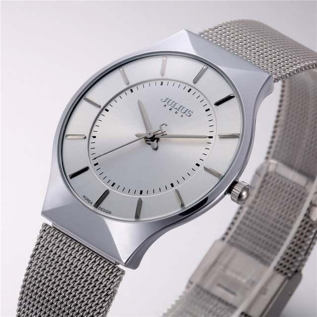 1996c2629dd placeholder Top Brand Julius Men s Watches Stainless Steel Band Net Belt  Analog Sports Quartz Wristwatch Ultra Thin