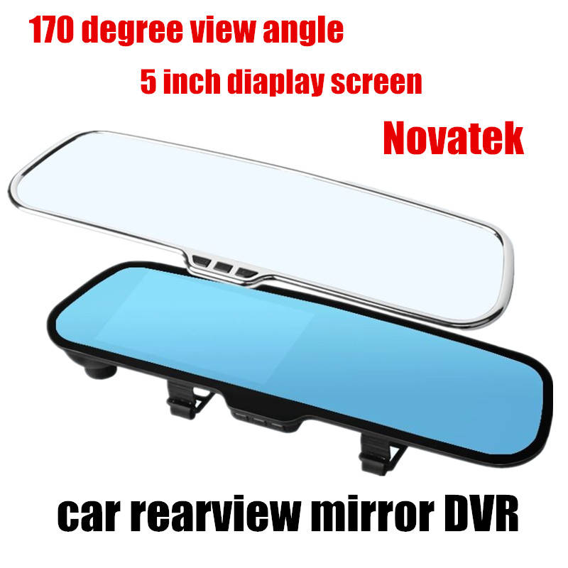 Free shipping 5.0 inch LCD car video recorder Mirror rearview mirror DVR Novatek 170 degree wide angle night vision