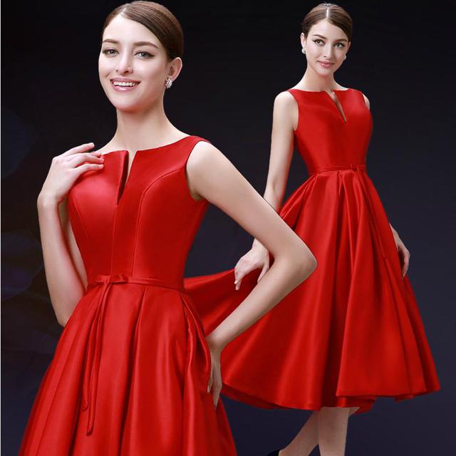 Novo 2017 moda de comprimento médio qualidade vestidos de festa vermelho borgonha plus size vestido de novia lace up prom dress