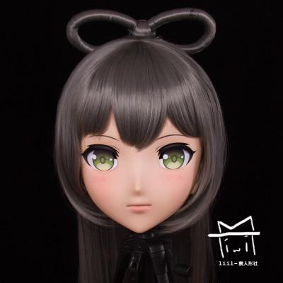(LiLi Mask-63) Sweet Girl Resin Head Mask Kigurumi Cosplay Japanese Role Play Anime Silicone Kigurumi Mask Crossdresser Doll