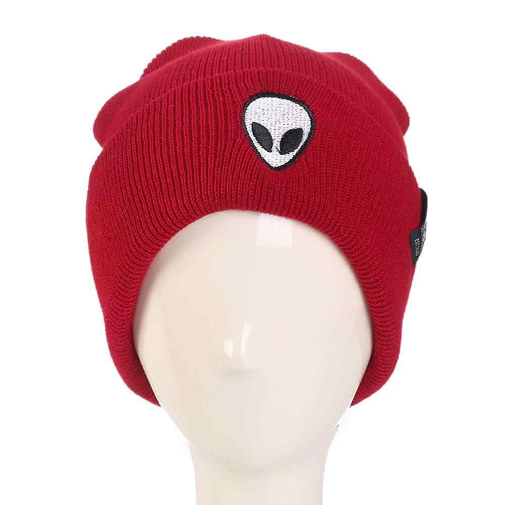 f69b52407a710 ... Hot Sale Embroidery Alien Hat Winter Men And Women Cuff Hats Gorros De  Lana Soft Solid ...