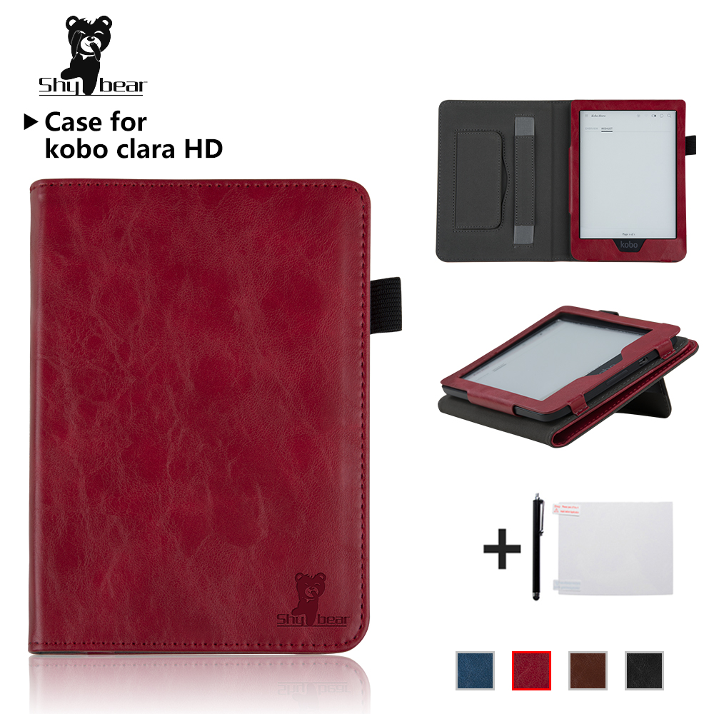 Case for New Kobo Clara HD 6 inch Hand Holder eReader Ebook PU leather smart cover protective case + protector film + stylus protective lichee pattern pu leather flip open case for kobo mini black