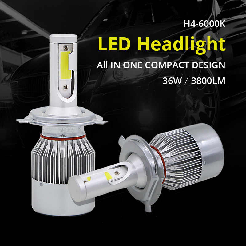 Edislight High Power 72W 7600LM H4 LED Headlight High Low Hi Lo Beam Light For 2000-2004 Ford Focus White Car Bulbs Headlamp