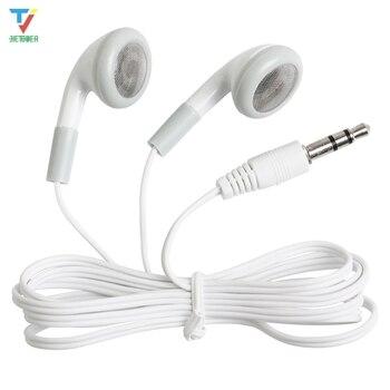 100pcs/lot Earphones White 3.5mm Cheapest earphones for mp3 mp4 For Mobile phones for school hospital Museum Company gift cheap