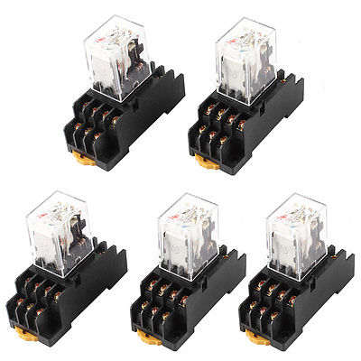цена на HH54PL AC 36V Coil 4PDT 14Pin 35mm DIN Rail Electromagnetic Power Relay 5 Pcs Free Shipping