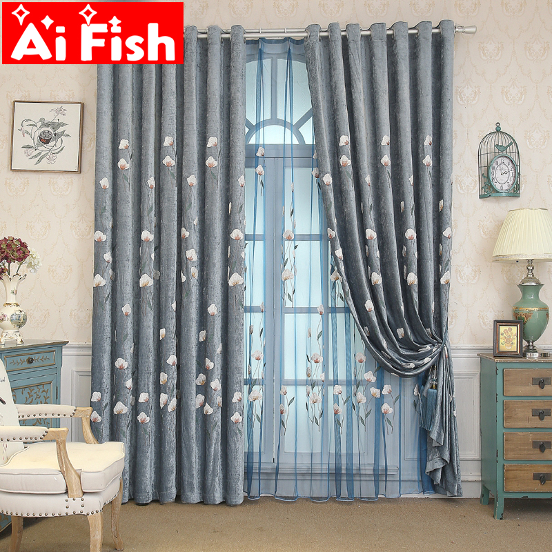 Fabric Curtains Living-Room Thick Window-Treatments Tulle Insulation Chenille Embroidered