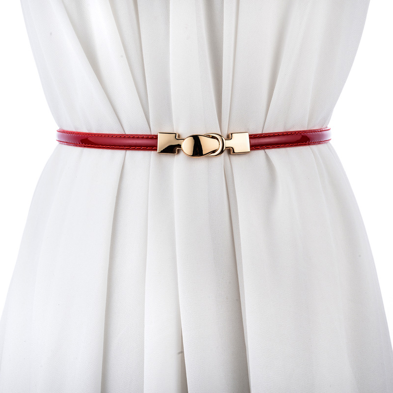 High Quality Cowskin Waistband Black Genuine Leather Cummerbunad Female Thin Adjustable Strap Women Gold Buckle Jean Patent Belt