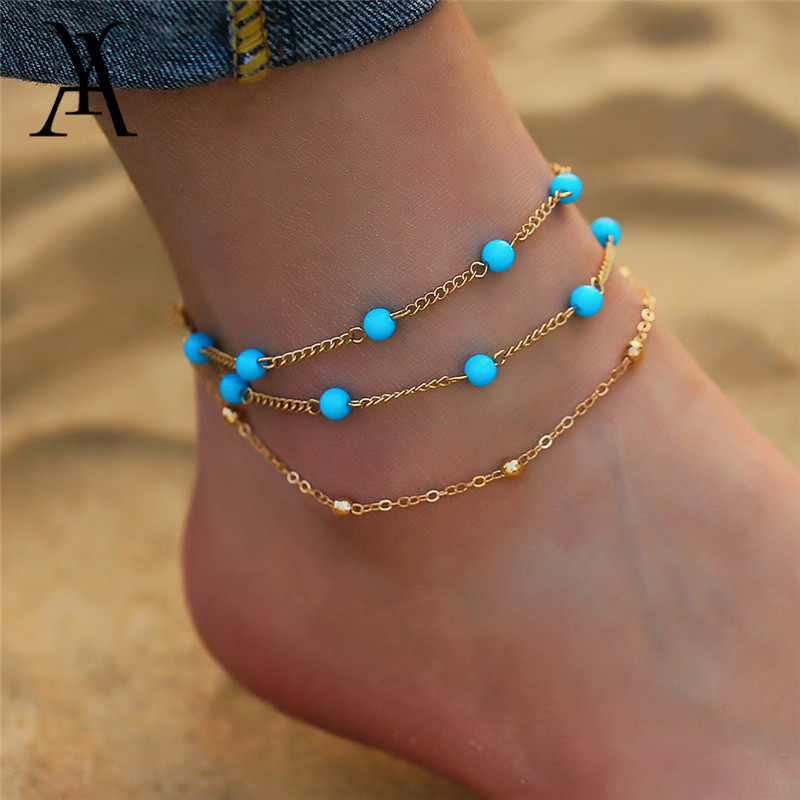 Bohemia Multi Layer Anklet Foot Chain Summer Vintage Beach Anklets Bracelet On the Leg Party Gift Foot Jewelry For Women 2018