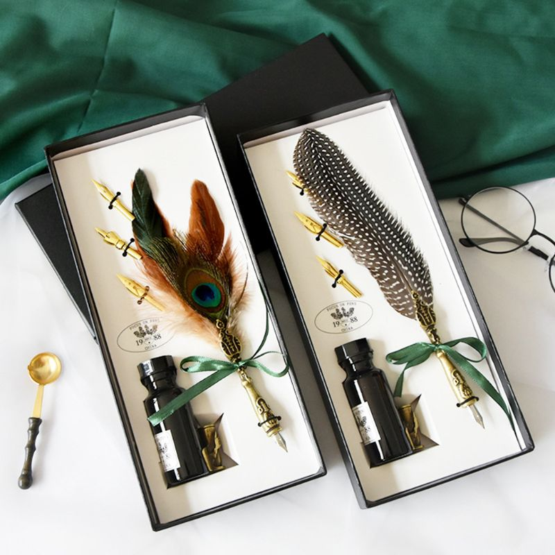 Feather Metal Pen Nibbed Dip Writing Ink Quill Pens Set for School Stationery Gifts Art Supplies