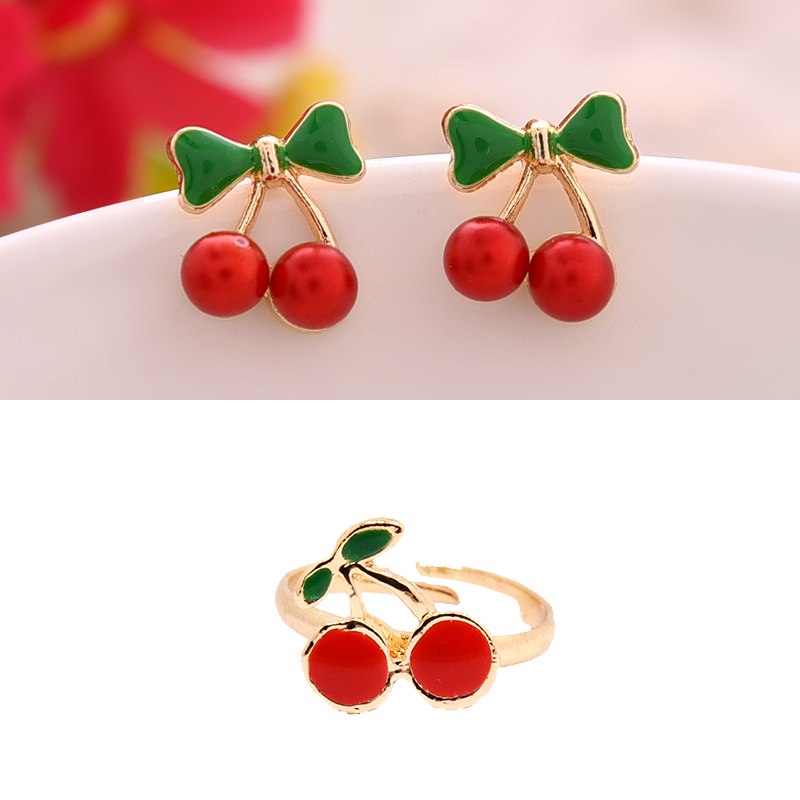 FANRAR Exquisite Gold Color Jewelry Set Cherry Stud Earring Rings for Girl Woman Enamel Tail Rings Party Gift Smail Size 15mm