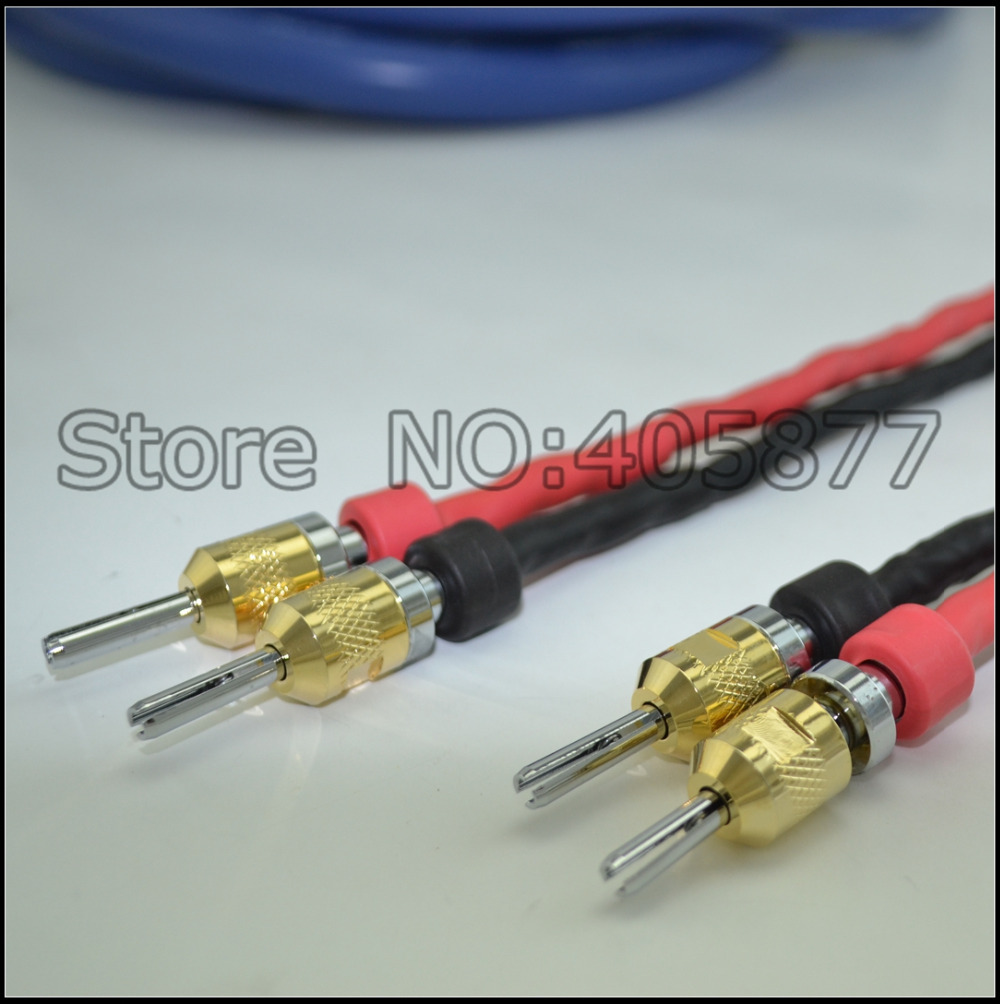 Hi End 2.5M pair audio Clear Light speaker cable with rhodium plated ...