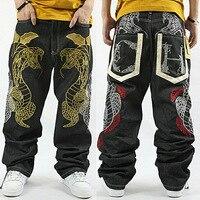 קידום חדש אמצע 2017 היפ הופ Loose ג 'ינס ג' ינס קרוע זרם מכנסיים היפ הופ Hiphop גברים מודפסים של מעבר פיתון Skateboar