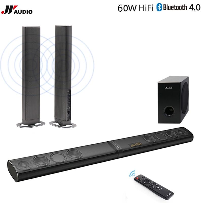 60 W 3D Home Theater TV Soundbar Bluetooth Senza Fili Altoparlanti Suono Bar Stereo LED TF Ottico HDMI AUX Subwoofer Computer PC telefono